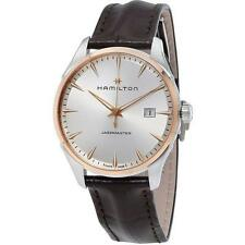Hamilton Jazzmaster Silver Dial Brown Leather Band Men Watch H32441551 New orig