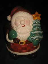 SANTA CLAUS CHRISTMAS TREE  CERAMIC COOKIE JAR 1999 BY HOME TRENDS