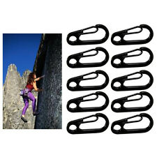 10pcs Stainless Steel Snap Clip Carabiner Buckle Split D-Ring Spring Hook Black