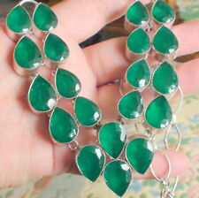 BIG! 650.00ct NATURAL EMERALD DOUBLET STERLING SILVER NECKLACE,Pandant,22''