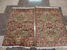 WOW OLIVE FLORAL PAIR HAND KNOTTED ORIENTAL RUG WOOL SILK CARPET 3X2 FB-2878-79