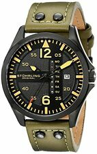 Stuhrling 699 03 Aviator Quartz Day and Date Green Leather Band Watch