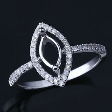 8X4mm Marquise Diamond Engagement Wedding Semi Mount Ring Setting 10K White Gold