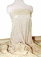 "TULLE NETTING SHEER NUDE w/ GOLD SEQUINS  54""  COSTUME /FORMAL /PAGEANT"