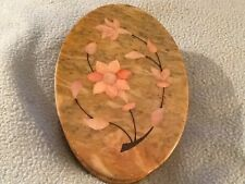 Vintage Marble Trinket Box with Inlaid Mother of Pearl in Floral Design