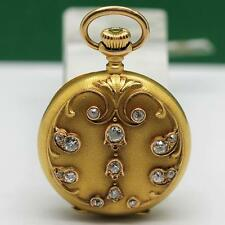 1905's LONGINES 18K SOLID YELLOW GOLD DIAMOND MANUAL WIND PENDANT & POCKET WATCH