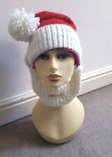 Lovely Red And white - Cream   wooly neck cover  winter hat