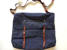 New Ralph Lauren RRL Maritime Vintage Navy Canvas & Leather Logo Messenger Bag