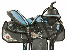 14 15 16 WESTERN BARREL RACING PLEASURE TRAIL SHOW HORSE SADDLE TACK SET BLUE