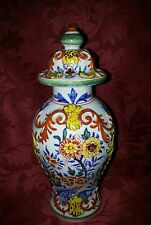 Antique Dutch Delft Polychrome Vase . Tin Glaze Vase