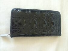 CHRISTIAN DIOR CANNAGE BLACK PATENT LEATHER ZIPP AROUND LARGE WALLET.