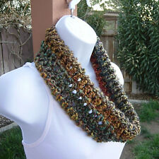 SUMMER COWL SCARF Gold Red Green Purple Colorful Small Short Crochet Infinity