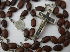 "Vintage Catholic SPINA CHRISTI bead Rosary Catecombs ""Relic""  Reliquary Crucifix"