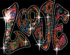 Sparkly Rhinestud Rhinestone Love Peace Sign T-Shirt PLUS SIZE or SUPERSIZE T459