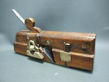 Unusual moving fillister wooden & brass plane vintage old tool