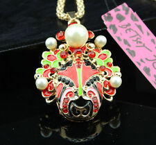 A168 Betsey Johnson Crystal Enamel Drama Facebook Pendant Sweater Chain Necklace