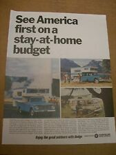 Original 1966 Dodge Campers Magazine Ad - See America On A Stay-AT-Home Budget