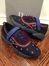 NIB Dior Fusion Black Crystal Blue Beaded Strap Trainer Sneaker Shoe 42 $1100