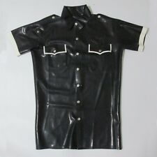Black and White Sexy Man Latex Rubber Shirt Tops Jacket
