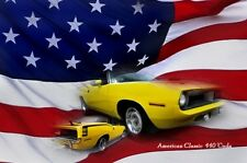 PLYMOUTH 440 ´CUDA Metall Schild schwer! USA FOTOPRINT BARRACUDA MOPAR sign V8