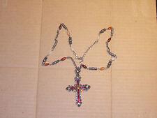 Crimson Medieval Cross Pendant Necklace COSTUME RENAISSANCE