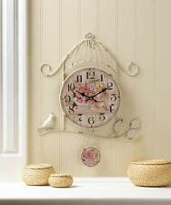 Shabby Vintage Chic Wall Decor Country Rose Bird Cage Plaque Metal Wall Art Cloc