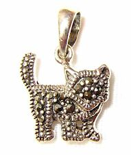 CUTE Mini KITTY CAT Pendant Marcasite-Studded .925 Sterling Silver (1/2-inch)