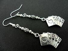 Una COPPIA DI TIBETAN SILVER Carte da Gioco Poker Lato ORECCHINI. nuovi.