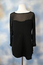 NEW INC INTERNATIONAL CONCEPTS black sheer neckline stunning blouse shirt top XL