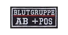 AB + Pos Blutgruppe Patch Aufnäher Badge Biker Heavy Rocker Bügelbild Kutte Stic
