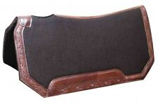 "Showman 30""x30"" BROWN Felt Saddle Pad w/ Tooled Leather Trim!! NEW HORSE TACK!!!"