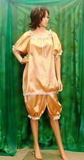 Domino ladies T/V sexy maid satin adult baby doll nightdress top and long pants