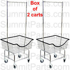 2PK - THE LAUNDROCART® COMMERCIAL WIRE LAUNDRY CART BASKET WITH CHROME HANGER
