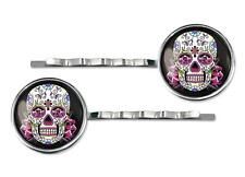 Pink Day of the Dead Sugar Skull Silver Plated Glass Hair Clip Barrette Set