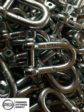 10 x 6mm Galvanised D Shackles (Marine Shackle, Bow Shackle Boat Shackle)
