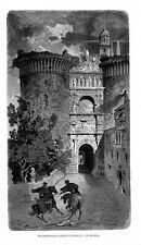 Stampa antica NAPOLI Arco Trionfale di Alfonso I 1876 Old print Engraving