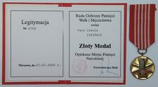 1605 POLAND POLISH MEDAL OF NATIONAL MEMORIALS GUARDIAN 1988-type 1st-cl +DOC'00