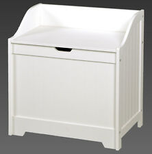 LARGE WOODEN LAUNDRY BIN BASKET WHITE BATHROOM BEDROOM HINGED LID CLOTHES HAMPER
