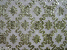 "ZOFFANY CURTAIN FABRIC DESIGN ""Firle Trellis"" 2.1 METRES ANIS (LIME) CUT VELVET"
