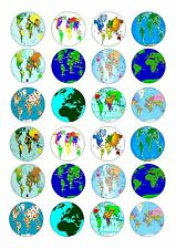 24 MAPS MAP OF THE WORLD  CUPCAKE TOPPER ICED  ICING EDIBLE FAIRY CAKE  TOPPERS