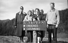 ORIGINAL PHOTO NEGATIVE-Road Sign Gatlinburg Cherokee Clingmans Dome 1953