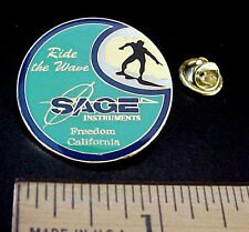 "SAGE INSTRUMENTS CALIFORNIA ""RIDE THE WAVE"" SURFER SURFING ADVERTISING PIN"
