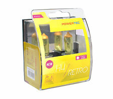 POWERTEC Retro H4 12V DUO YELLOW HEADLIGHT CAR BULB SET 12V 55W