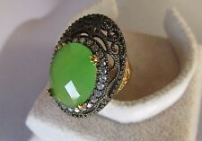 925 SILVER HANDCRAFT JEWELRY SUBLIME LIGHT GREEN CHALCEDONY LADYS RING SZ 7.75