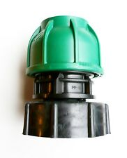 """IBC Adapter (2"""" S60X6 Coarse Thread) to 32 mm Straight MDPE Compression Fitting"""
