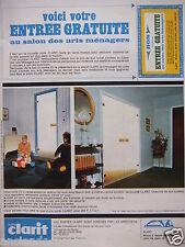 PUBLICITÉ 1967 PORTE CLARIT EN VERRE TREMPÉ - ENTRÉE GRATUITE - ADVERTISING