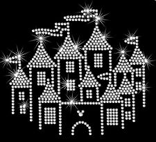 """6.8"""" clear Disney Castle iron on rhinestone transfer applique bling patch"""