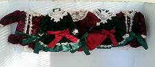 Lot 5 Victorian Christmas Ornaments Velvet Pearls Tadding Lace Dresses W/Hangers