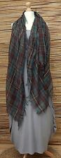 OVERSIZE*SILK* VERY SOFT HIGHLAND TARTAN FRAYED SCARF*BROWN/GREEN/RED/YELLOW*