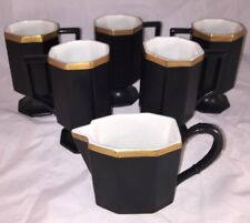 5 Ernest Sohn Black Pedestal Mugs Gold Trim and creamer